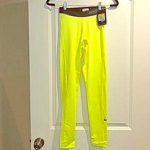 NWT Nike Pro neon yellow dri-fit legging S